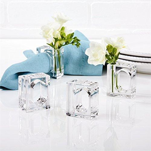 Acrylic Flowers Ring (12 Acrylic Napkin Rings Bud Vase Flower Holder – Clear - Table Décor, 2-in 1 (Bulk Set) Wholesale)