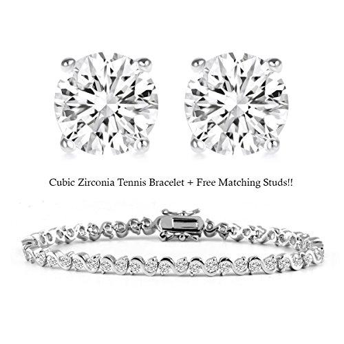 UPC 029741493896, BSD Treasure 18K White Gold Plated Cz Tennis Bracelet and Stud Earrings Set (Swirl Tennis Bracelet)