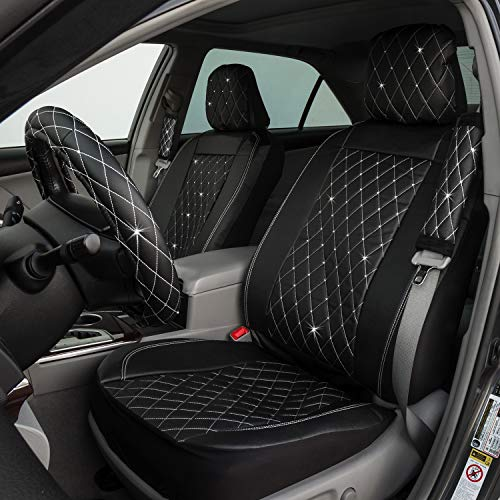 Pilot Special Edition Swarovski Crystal Embellished Black Faux Leather Diamond Stitched Seat Cover Combo Kit ()