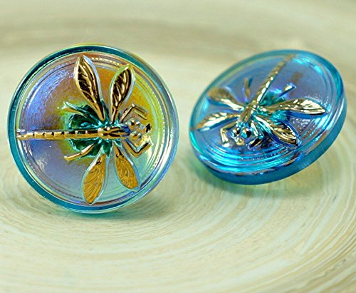 Glass Gold Buttons - Handmade Czech Glass Flat Round Button Small Gold Dragonfly Crystal Blue AB 18mm 1pc