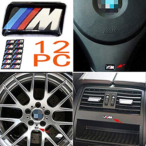 Haocc Loud 12pcs M Tec Sport Self-Adhesive Badge Sticker Emblem fits for BMW M3 M5 M6 Wheel New ()