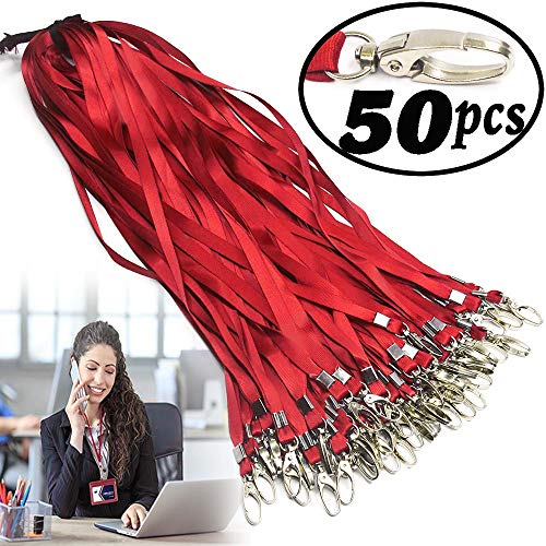- red Lanyard Bulk Clips Swivel Hooks Nylon Neck Flat Woven Blue Lanyards with Clip for Id Badges Key Chains,Lanyards 50 Pack 32-inch