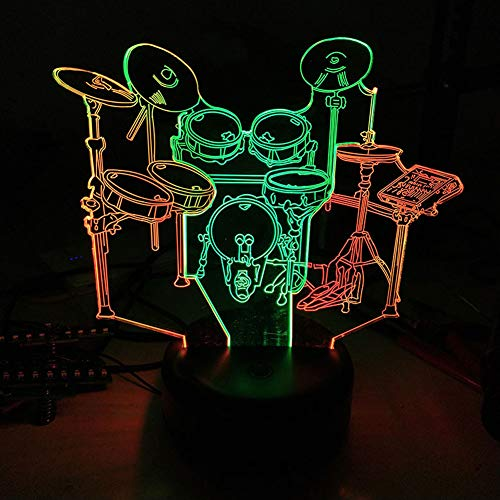Drum LED 3D Illusion Visual Lamp USB Optical Band Night Light 7 Color Christmas Present Birthday Gift for Boy Boyfriend Kids Rock and Roll Musical Singer Decoration Room Bedroom Decor (Drum)