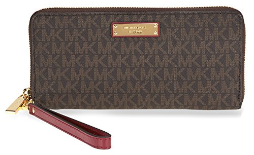 Michael Kors Jet Set Travel Logo Continental Wristlet- Brown and Mulberry by Michael Kors