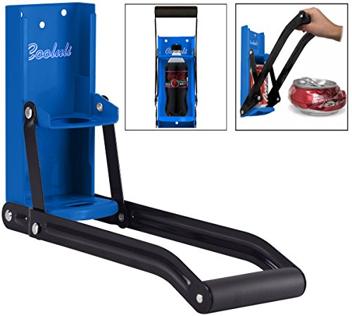 Cooluli 16 oz. Aluminum Can and 20 oz. Plastic Bottle Crusher - Multifunctional Design, Wall Mounted with Built-In Bottle Opener (Blue) (Can Crusher Wall Mounted compare prices)