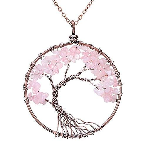 Joybeauti Tree of Life Pendant Wire Wrapped Birthstone Healing Gemstone Pendant Necklace Sweater Chain Necklace 31.5 Inches (Rose - Life Pendant Wire