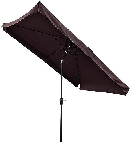 AMPERSAND SHOPS Outdoor Patio Tilt Umbrella Rectangular Valance Crank Handle 10' x 6.5' Waterproof Coffee