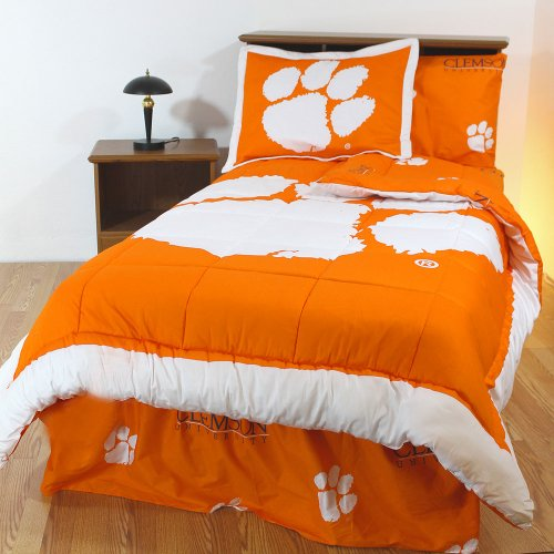 NCAA Clemson Tigers Twin XL Bed Set Orange Cotton Bedding by NCAA