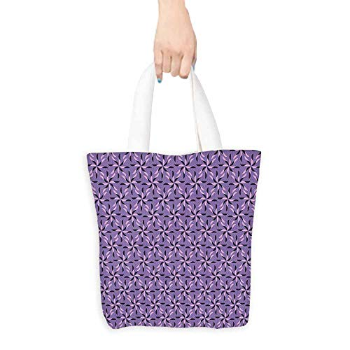 Tote bag,Geometric Blossoming Flowers with Birth of Nature Season Theme Spring Summer,Fits in Pocket Waterproof & Lightweight,16.5