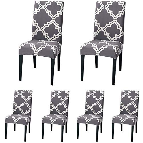 ColorBird Moroccan Series Spandex Dining Chair Slipcovers Removable Universal Stretch Chair Protective Covers for Dining Room, Hotel, Banquet, Ceremony (Set of 6, Gray)