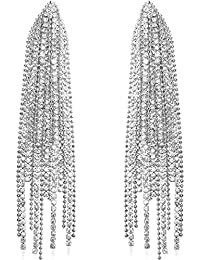 Humble Chic Simulated Diamond Earrings - Darling Waterfall Tassel CZ Statement Chandelier Studs for Women