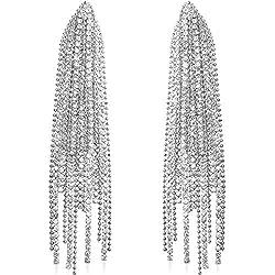 Cascade Silver-Tone Simulated Diamond Earring