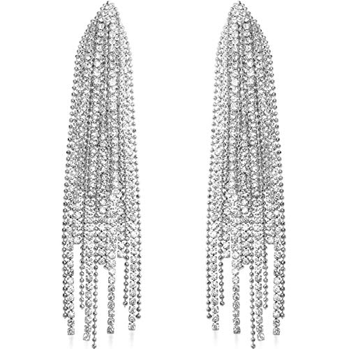 - Humble Chic Simulated Diamond Earrings - Oversized Darling Waterfall Tassel CZ Statement Chandelier Studs, Silver-Tone Cascade, Hypoallergenic