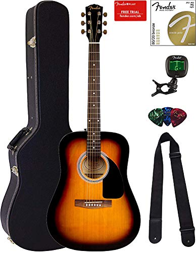 Fender FA-115 Dreadnought Acoustic Guitar – Sunburst Bundle with Hard Case, Tuner, Strings, Strap, and Picks