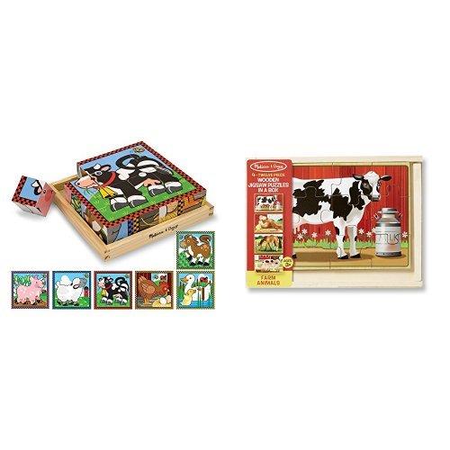 Melissa & Doug Farm Cube Puzzle & Farm Jigsaw Puzzle Bundle ()