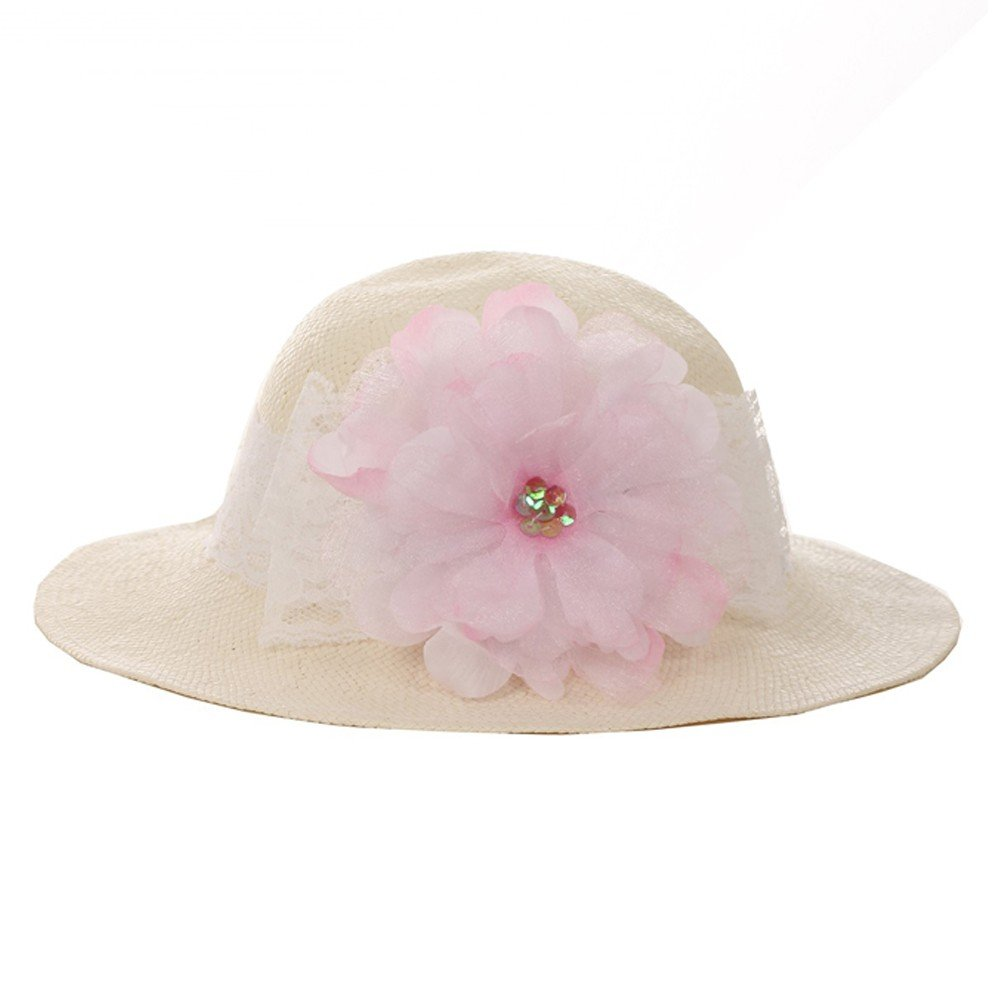 Kid's Dream Girls Straw Pink Detachable Flower Lace Summer Hat 21''