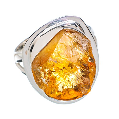 Rough Citrine Ring Size 7.5 (925 Sterling Silver) - Handmade Jewelry RING876551 from Ana Silver