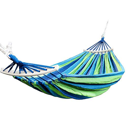 Fall In Love Double Hammock 450 Lbs Portable Travel Camping Hanging Hammock Swing Lazy Chair Canvas Hammocks,Blue (Capacity Hammock 800 Lb)