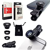 GoStellar Universal 3-in-1 Camera Lens Kit for Smartphones and Tablets - Wide Angle + Macro + Fisheye (Optical Glass/Increased Transparency) - Protective Bag and Clip