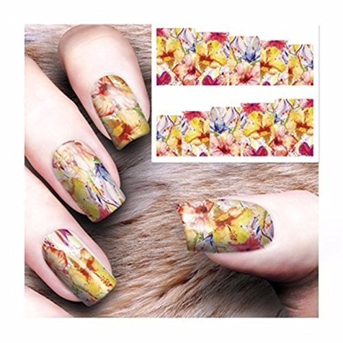 8 Pcs Water Transfer Sheet Nail Art Sticker Decal Beauty Tips Decoration - 9