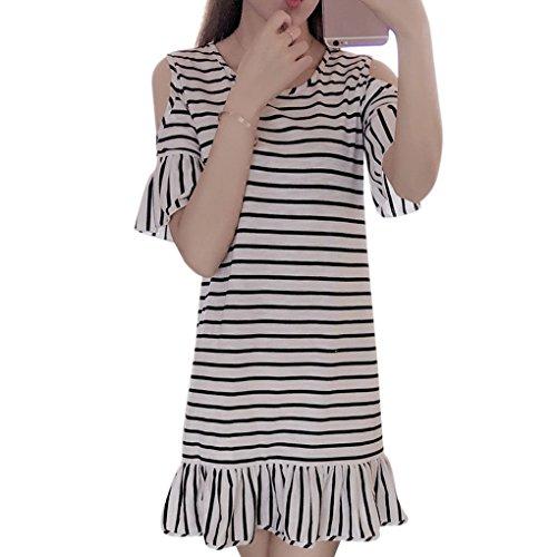 la Hombro de 3XL la Blanco 3XL Fibra Providethebest y Raya la Manga Corto flojasSripe Llamarada Mujeres de Verano de Poliester del Vestido Vestido Ocasionales de qwxtOgY