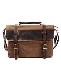 S-ZONE Vintage Canvas Leather Messenger traveling Briefcase Shoulder Laptop Bag (Coffee)