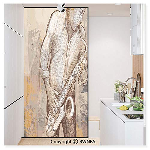 Decorative Window Film,Jazz Musician Playing The Saxophone Solo in The Street on Grunge Background Art Print Static Cling Glass Film,No Glue/Anti UV Window Paper for Bathroom,Office,Meeting Room,Bedr