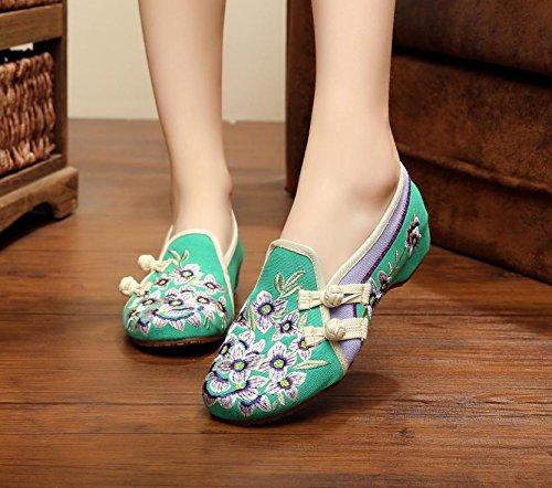 WXT Zapatos bordados, lenguado de tendón, estilo étnico, hembrashoes, moda, cómodos zapatos de lona Green