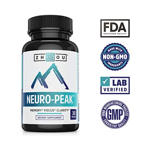Neuro Peak Brain Support Supplement - Memory, Focus & Clarity Formula - Nootropic Scientifically Formulated for Optimal Performance - Dmae, Rhodiola Rosea, Bacopa Monnieri, Ginkgo Biloba & More
