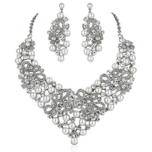 (Janefashions Daisy Faux Pearl Off White Austrian Rhinestones Bib Necklace Earrings Set N923 (Silver))