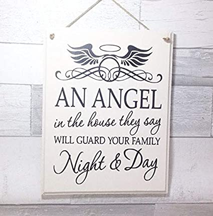 Amazon.com: Boyce22Par Angel Quote Wooden Sign Angel Wings ...