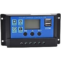 PWM Controlador de Carga Solar, 12V/24V Controlador de Carga Panel Solar, Regulador de Batería de Panel Solar con Pantalla LCD & Puertos USB Duales Seguimiento de Enfoque Automático(YCX-001-10A)