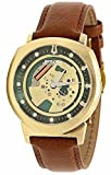 Bulova Accutron II Alpha Collection Men's Gold Skeleton Dial Leather Quartz Watch 97A110
