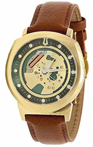 Bulova Accutron II Alpha Collection Men's Gold Skeleton Dial Leather Quartz Watch 97A110 by Bulova