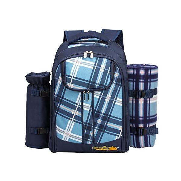 51H4jye%2BBfL apollo walker Picknickrucksack für 4 Personen mit Fleece-Decke und Kühlfach (Blau)