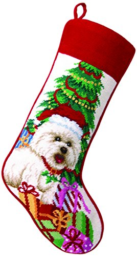 Stocking Bichon Christmas (Peking Handicraft 31TA1289MC Bichon Needlepoint Stocking, 11 x 18