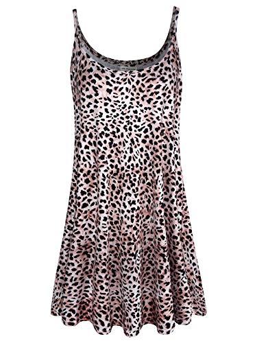 7th Element Plus Size Women's Casual Spaghetti Loose Swing Slip Dress (3-XL, Leopard Print) ()