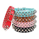 AOLOVE Mushrooms Spiked Rivet Studded Adjustable Pu Leather Pet Collars for Cats Puppy Dogs (Medium - Blue)
