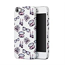 Cute Glasses Lipstick Parfume Girl Stuff Pattern Apple iPhone 5, iPhone 5s, iPhone SE Plastic Phone Protective Case Cover
