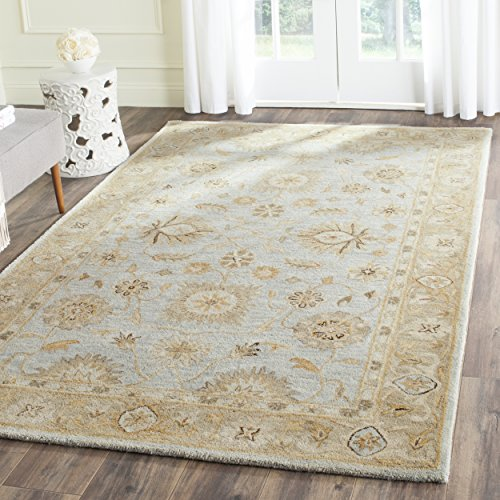 (Safavieh Antiquities Collection AT856B Handmade Traditional Oriental Light Blue and Sage Wool Runner (2' 3