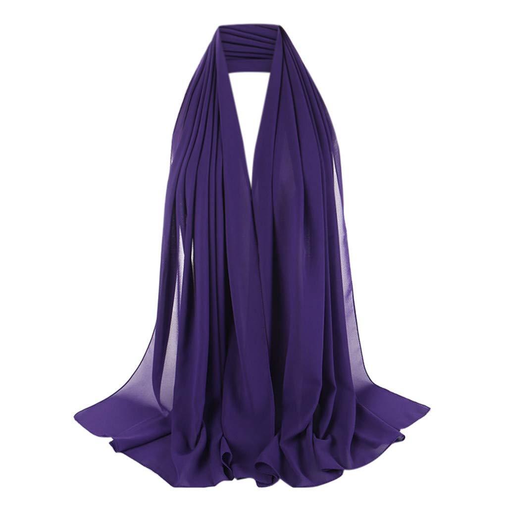 Solid Color Headwrap Scarf Women Muslim Hijab Lightweight Long Scarf Wrap Scarves Fashion Hair Scarf Purple
