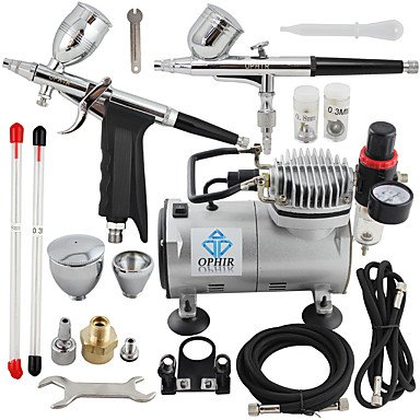 110V,220V 2-Airbrush & Compressor Kit Double Action Spray Air Brush Set Tattoo Nail Art , 220v by HJLHYL