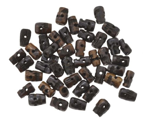 Mandala Crafts Dark Brown Yak Bone Skull Beads, 50 - Bone Beads Yak