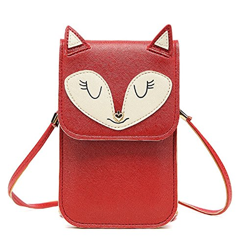 Universal Multipurpose Cute 3D Red Fox Design Synthetic Leather Wallet Crossbody Cell Phone Bag Mini Pouch for iPhone 6/6S,6Plus/6S Plus,Note 5,Note 4,Galaxy S7,S7 Edge