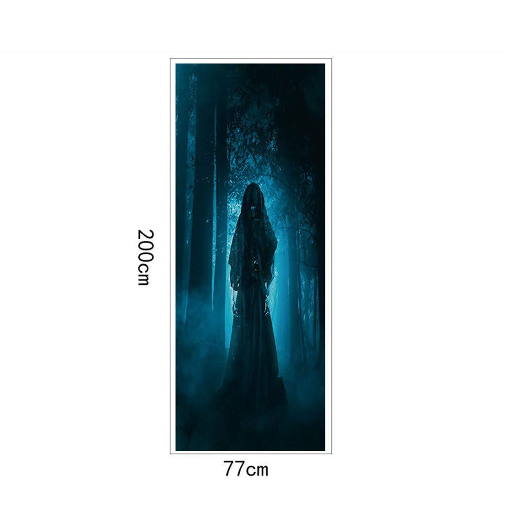A Stickers Muraux Clode/® Autocollants de porte de fant/ôme de zombie de cr/âne de Halloween d/écoration de la maison 38.5 x 200cm 2pc