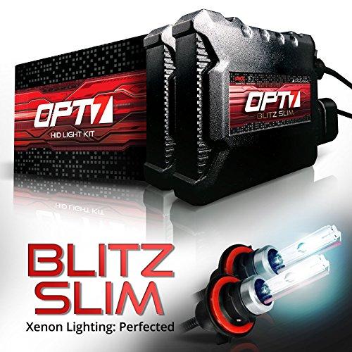 OPT7 Blitz Slim 9007 Bi-Xenon HID Kit - 3.5X Brighter - 4X Longer Life - All Bulb Sizes and Colors - 2 Yr Warranty [5000K Bright White Light]