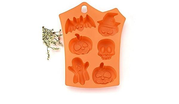 Molde de calavera de fantasía VPlus, 2 piezas, para Halloween, calabaza - MoldFun grande de Halloween, bandeja de silicona para magdalenas, chocolate, ...