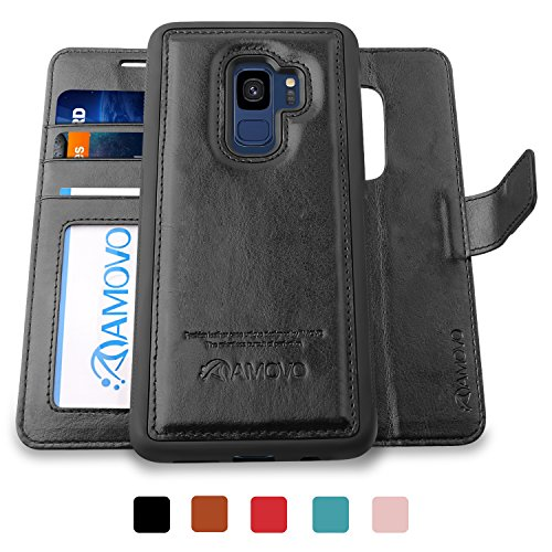 AMOVO Galaxy S9 Case [2 in 1], Samsung Galaxy S9 Wallet Case [Detachable Wallet Folio] [Premium Vegan Leather] Samsung S9 Flip Case Cover with Gift Box Package (Black, S9) - Leather Case Bundle