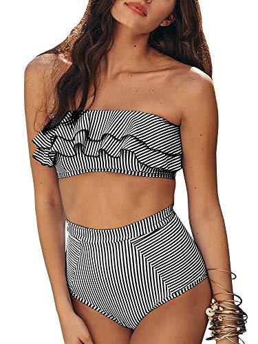 (Tutorutor Womens High Waisted Bandeau Bikini Set Sexy Strapless Striped Ruffle 2 Piece Bathing Suit Summer Swimwear Black )