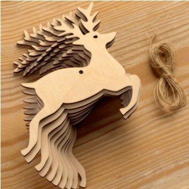 Rurah Wooden Christmas Tree Pendants Party Decoration Xmas Tree Ornaments Kids Gift ,Deer head